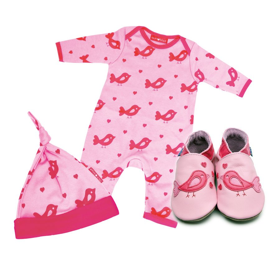 Print Bird Babygro, Hat & Shoe Set